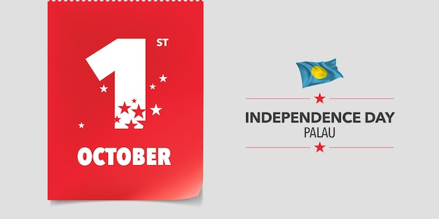 Biglietto di auguri per il giorno dell'indipendenza di palau, banner, illustrazione vettoriale. sfondo della festa nazionale di palau del 1 ottobre con elementi di bandiera in un design orizzontale creativo