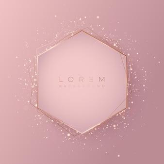 Forma di sfondo 3d esagonale rosa pallido con cornice dorata e glitter brillanti, illustrazione vettoriale