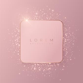 Forma di mockup di sfondo quadrato 3d rosa pallido con cornice dorata e glitter lucidi.