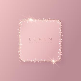 Forma di sfondo quadrato 3d rosa pallido con cornice dorata e glitter luccicanti, illustrazione vettoriale