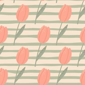 Modello stilizzato senza cuciture pallido con tulipani rosa. sfondo grigio spogliato. carta da parati botanica vintage
