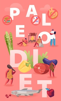 Paleo dieta sana alimentazione concetto. gente delle caverne e dottore nutrizionista a spasso tra i prodotti frutti di mare carne acqua verdura e frutta. cartoon illustrazione piatta