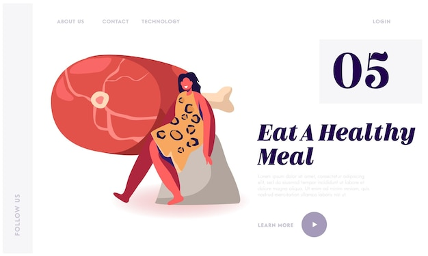Paleo diet nutrition, healthy eating of ancient people website landing page.