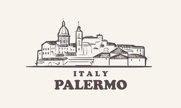 Illustrazione disegnata a mano di italia di schizzo di paesaggio urbano di palermo