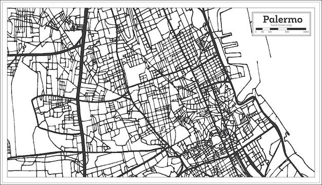 Mappa della città di palermo italia in stile retrò. mappa di contorno. illustrazione di vettore.