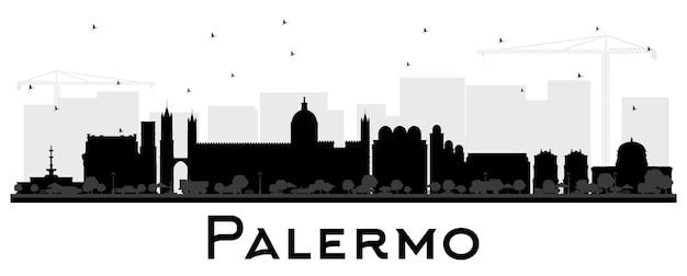 Siluetta dell'orizzonte della città di palermo italia con edifici neri isolati su bianco vector illustration