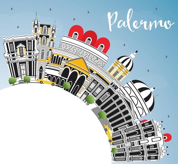 Orizzonte della città di palermo italia con edifici di colore, cielo blu e spazio di copia. illustrazione
