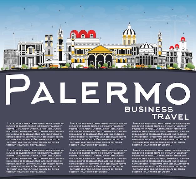 Orizzonte della città di palermo italia con edifici di colore, cielo blu e spazio di copia. illustrazione di vettore. viaggi d'affari e concetto di turismo con architettura storica. palermo sicilia paesaggio urbano con punti di riferimento.