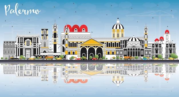 Orizzonte della città di palermo italia con edifici di colore, cielo blu e riflessi. illustrazione di vettore. viaggi d'affari e concetto di turismo con architettura storica. palermo sicilia paesaggio urbano con punti di riferimento.