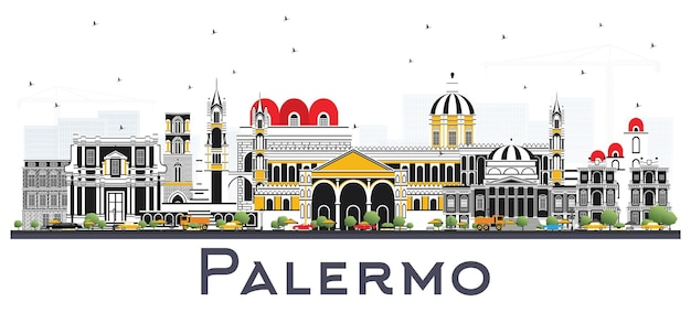 Orizzonte della città di palermo italia con edifici di colore isolato su bianco. illustrazione di vettore. viaggi d'affari e concetto di turismo con architettura storica. palermo sicilia paesaggio urbano con punti di riferimento.