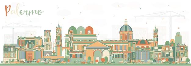 Orizzonte della città di palermo italia con edifici di colore. illustrazione di vettore. viaggi d'affari e concetto di turismo con architettura storica. palermo sicilia paesaggio urbano con punti di riferimento.
