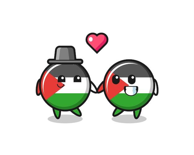 Distintivo della bandiera della palestina coppia di personaggi dei cartoni animati con gesto di innamoramento, design in stile carino per maglietta, adesivo, elemento logo