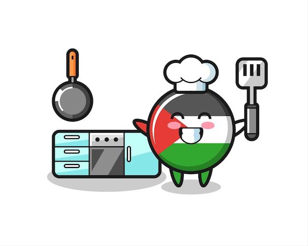 Illustrazione del personaggio del distintivo della bandiera della palestina mentre uno chef sta cucinando, design in stile carino per maglietta, adesivo, elemento logo