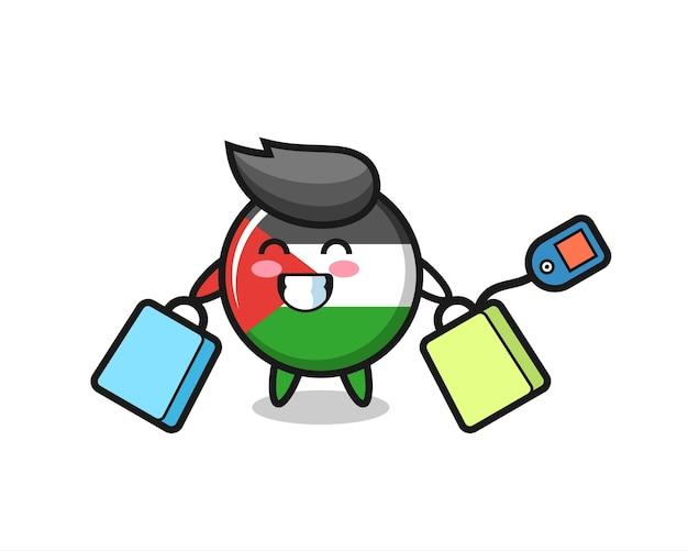 Fumetto della mascotte del distintivo della bandiera della palestina che tiene una borsa della spesa, design in stile carino per maglietta, adesivo, elemento logo