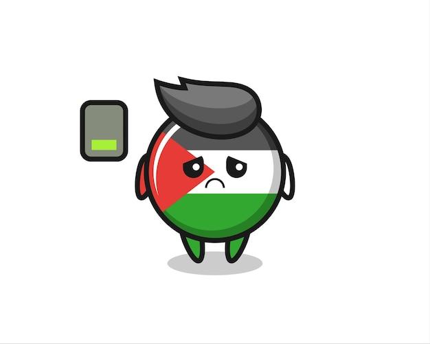 Carattere della mascotte del distintivo della bandiera della palestina che fa un gesto stanco, design in stile carino per maglietta, adesivo, elemento logo
