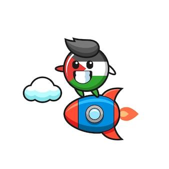 Carattere della mascotte del distintivo della bandiera della palestina che cavalca un razzo, design in stile carino per maglietta, adesivo, elemento logo