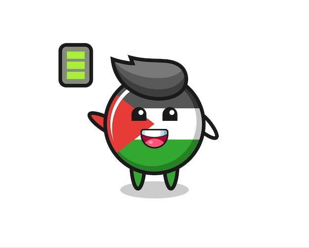 Carattere della mascotte del distintivo della bandiera della palestina con gesto energico, design in stile carino per maglietta, adesivo, elemento logo