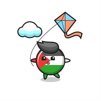 L'illustrazione della mascotte del distintivo della bandiera della palestina sta giocando a un aquilone, un design in stile carino per maglietta, adesivo, elemento logo