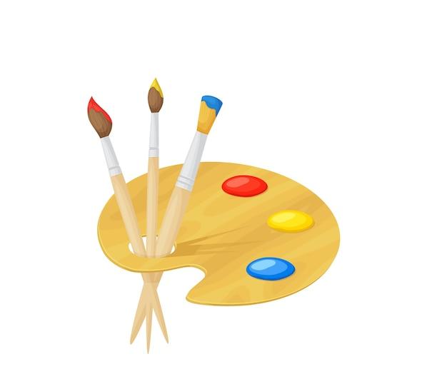 Tavolozza con vernici e pennelli isolati su sfondo bianco