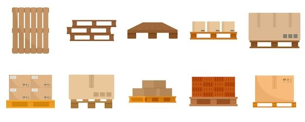 Set di icone di pallet. set piatto di icone vettoriali pallet isolato su sfondo bianco
