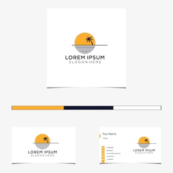 Design del logo e biglietto da visita di palm beach