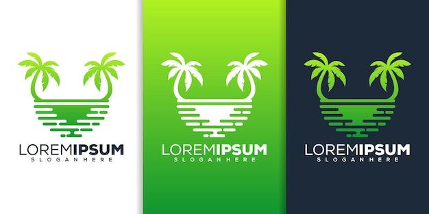 Design del logo della palma e della spiaggia