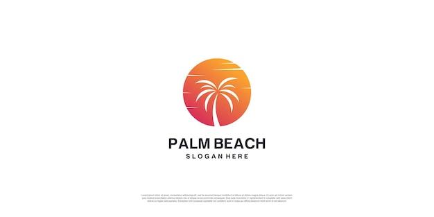 Logo di palm beach con concept creativo vettore premium parte 2