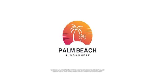 Logo di palm beach con concept creativo vettore premium parte 3