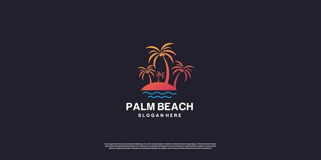 Logo di palm beach con concept creativo vettore premium parte 4