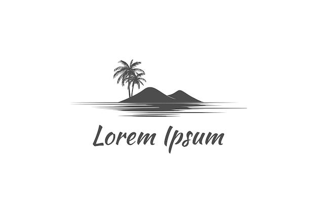 Palma da cocco con isola per spiaggia o oceano travel logo design vector