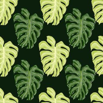 Modello senza cuciture verde di palma con stampa di foglie di monstera verde doodle. sfondo scuro. fondale decorativo per il design del tessuto, stampa tessile, avvolgimento, copertina. illustrazione vettoriale.