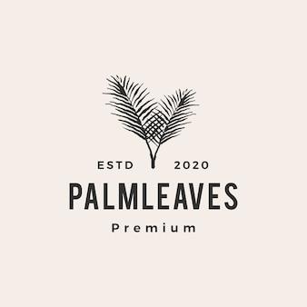 Foglia di palma foglie hipster logo vintage icona illustrazione