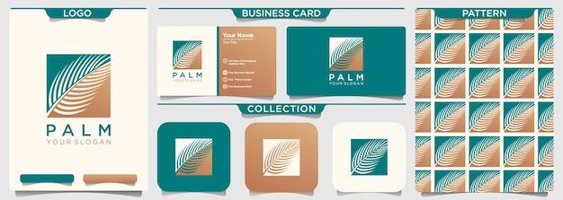 Modello di progettazione di logo di foglia di palma