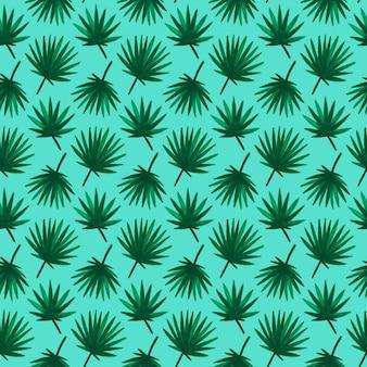 Modello senza cuciture foglia di palma. illustrazione vettoriale di sfondo di piante tropicali di vernice disegnata a mano.