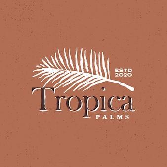 Illustrazione tropicale dell'icona di logo dell'annata di foglia di palma
