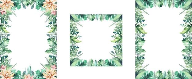 Foglie di palma e cornici di fiori. biglietto di auguri tropicale.
