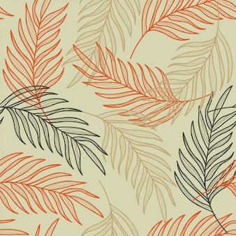 Modello senza cuciture disegnato a mano di foglie di palma linea