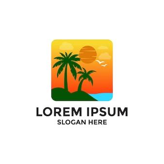 Siluetta dell'icona del logo della palma per azienda di trasporti e viaggi