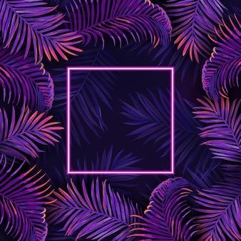 Poster di foglie al neon di palma, illustrazione vettoriale tropico vibrante viola, cornice festa in discoteca estate giungla, modello tropicale floreale di bagliore luminoso con testo, carta di invito esotico
