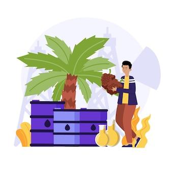 Concetto di industria di produzione di olio di palma