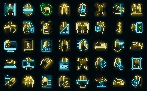 Icone di scansione del palmo impostate vettore neon