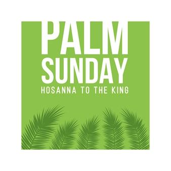 Biglietto di auguri per la domenica delle palme, poster con bordo di foglie di palma, cornice. sfondo vettoriale.