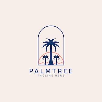 Vettore del modello di progettazione di logo dell'annata della spiaggia della palma della palma