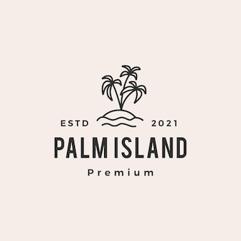 Logo vintage di palm tree island hipster