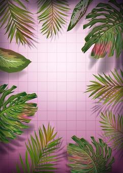 Modello del manifesto delle foglie di palma. cornice tropicale con banane esotiche, piante monstera per banner, volantini. disegno floreale estivo nella giungla. illustrazione vettoriale