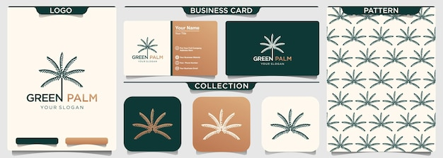 Modello di progettazione di logo del segno di lavoro della palma