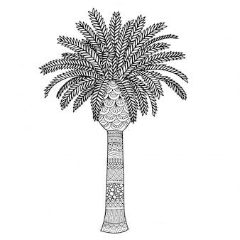 Stile zentangle di palma, pagina da colorare