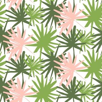 Reticolo senza giunte del tropico della palma. illustrazione vettoriale di sfondo foglia estate vernice disegnata a mano.