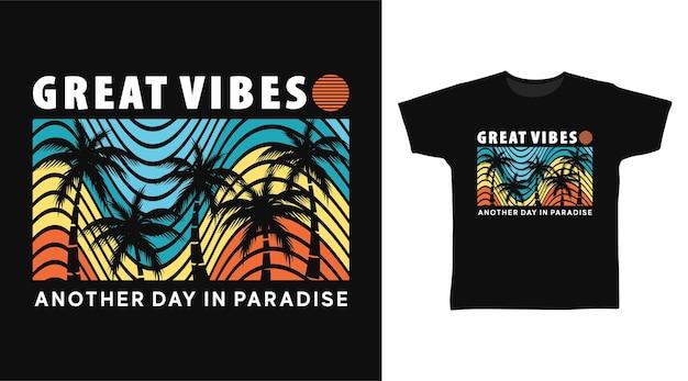 Disegno della maglietta della linea di arte della spiaggia dell'albero di palme
