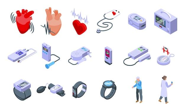 Palpitante set di icone vettore isometrico. aiuto per l'addome. attacco di respiro